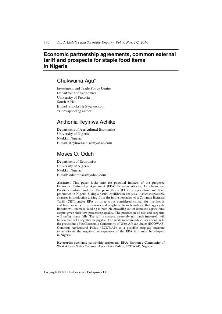 130      Int. J. Liability and Scientific Enquiry, Vol. 3, Nos. 1/2, 2010Economic partnership agreements, common externalt...