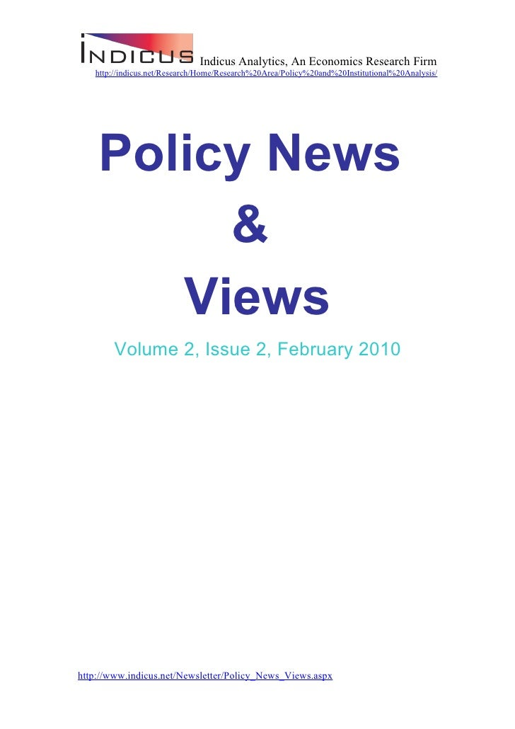 Economic Policy News And Views February 2010