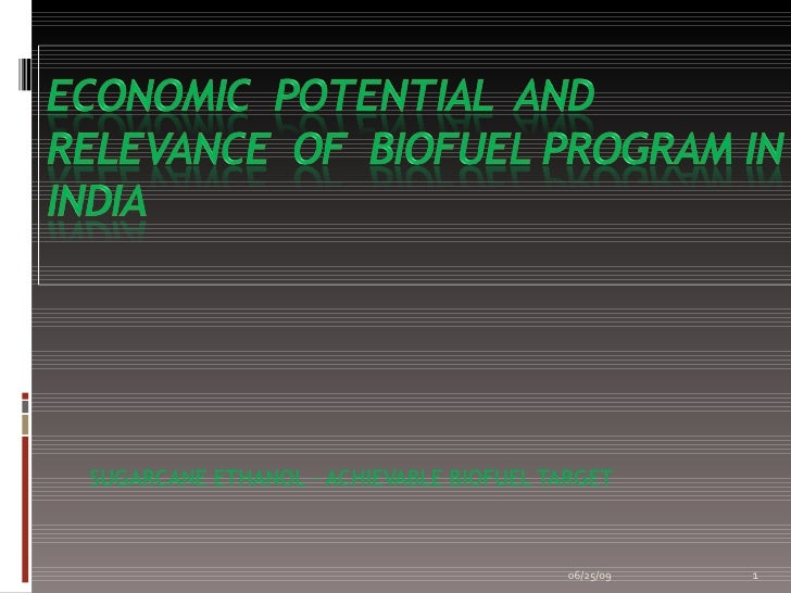 Economic Potential And Relevance Of Biofuel Program In India