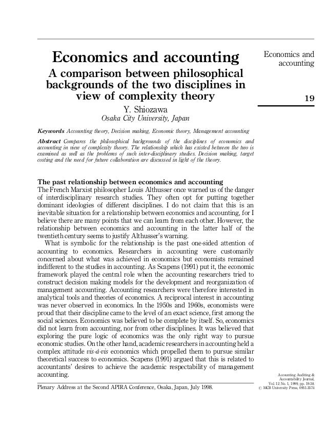 Economics and accounting a comparison between philosophical