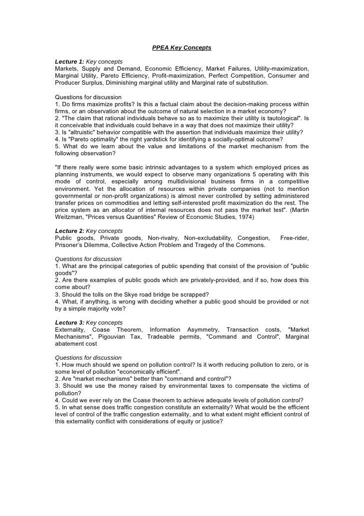 PPEA Key ConceptsLecture 1: Key conceptsMarkets, Supply and Demand, Economic Efficiency, Market Failures, Utility-maximiza...