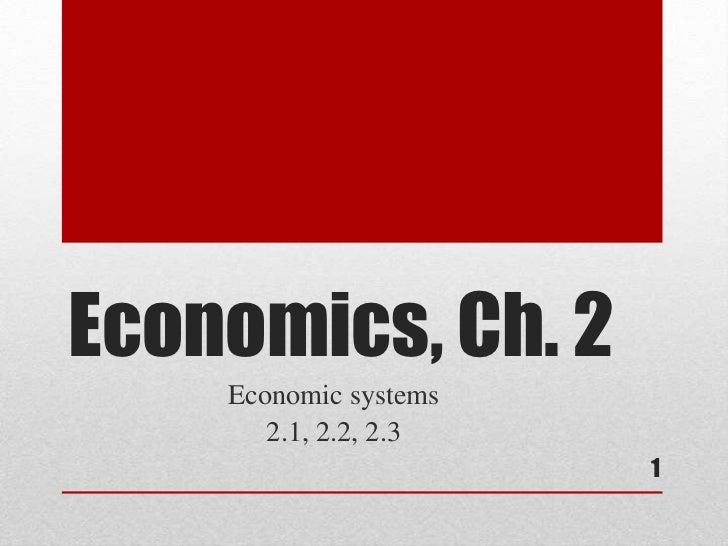 Economics, Ch. 2    Economic systems       2.1, 2.2, 2.3                       1
