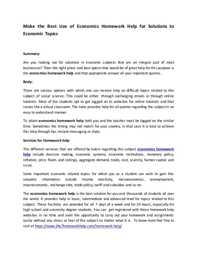 econ home work essay What's the best route to work economics is the study of given ends and robbins' most famous book was an essay on the nature and significance of.