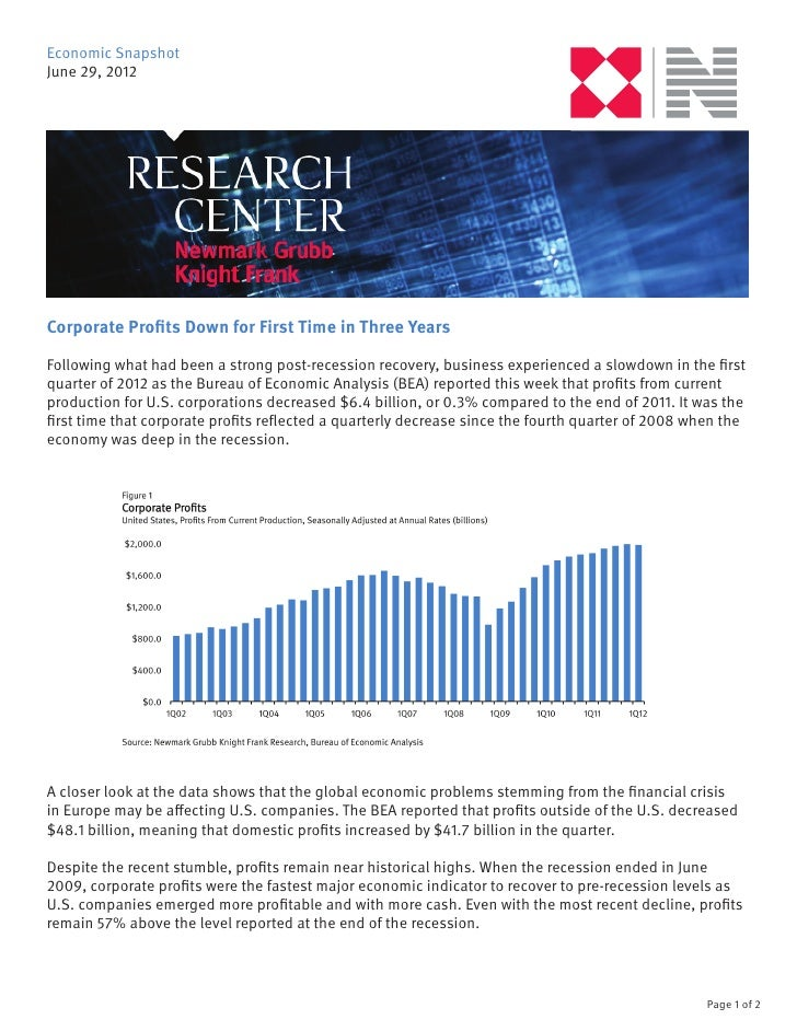 Economic SnapshotJune 29, 2012Corporate Profits Down for First Time in Three YearsFollowing what had been a strong post-re...