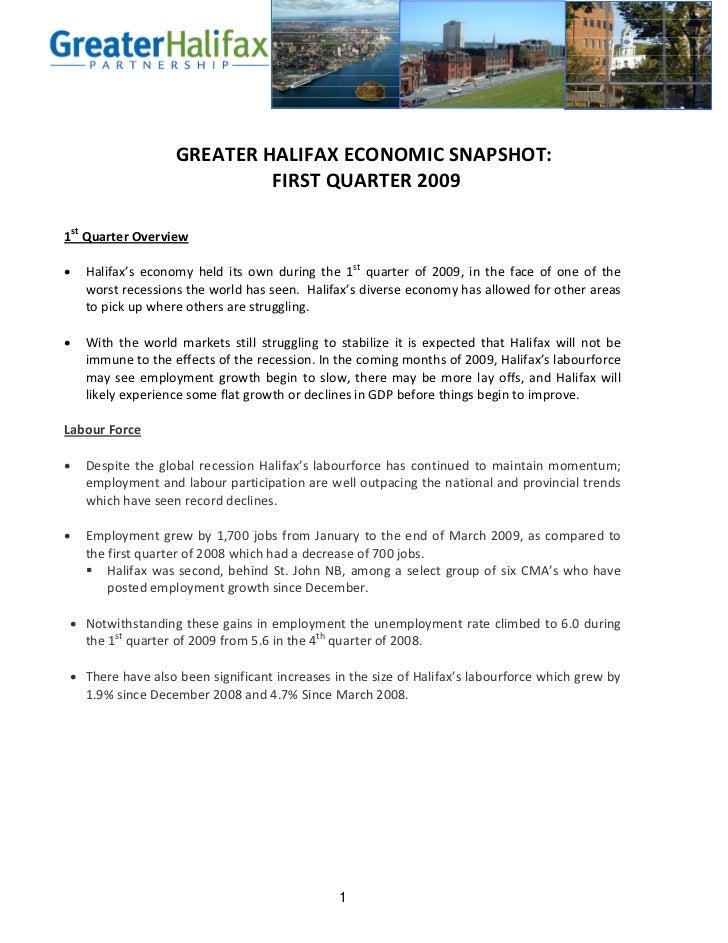 Halifax Economic Snapshot Quater 1 2009