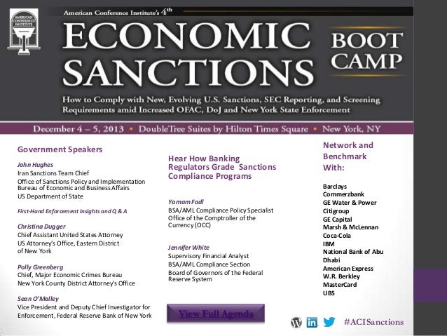 Government Speakers John Hughes Iran Sanctions Team Chief Office of Sanctions Policy and Implementation Bureau of Economic...