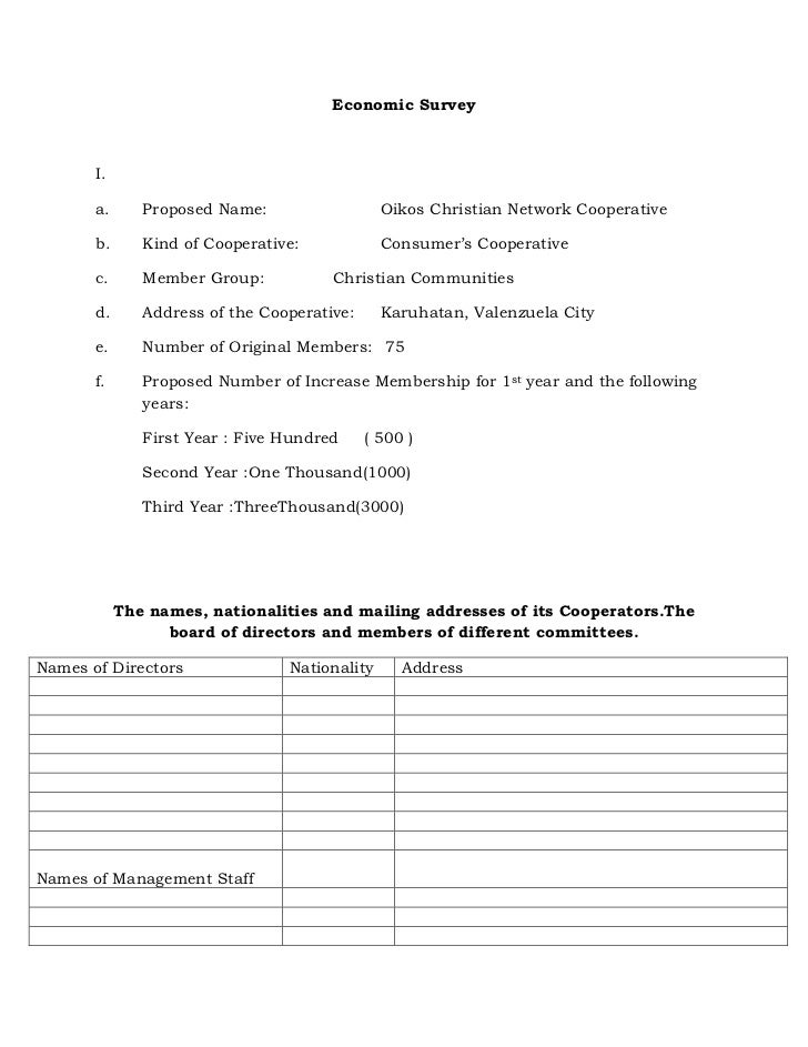 Economic Survey       I.       a.      Proposed Name:                  Oikos Christian Network Cooperative       b.      K...