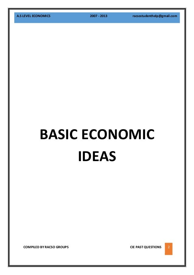 Cambridge A Level Economics Syllabus