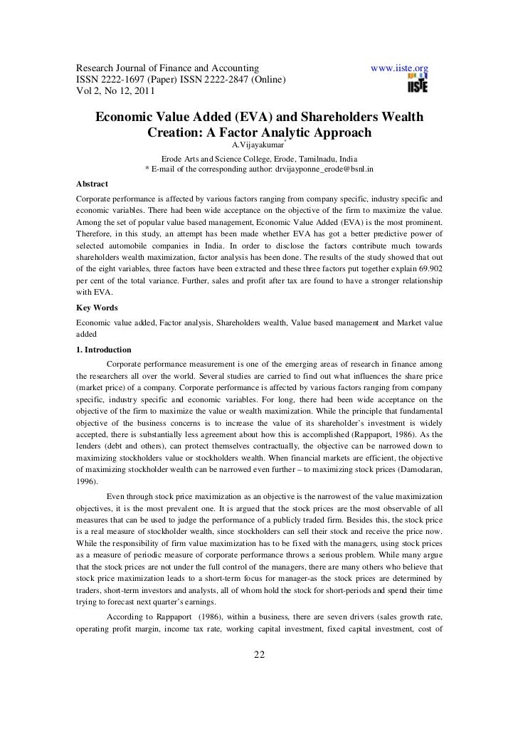 economic value added research papers This paper aims to create a framework about the way how can be what is economic value added and the implications of using eva in research and development.