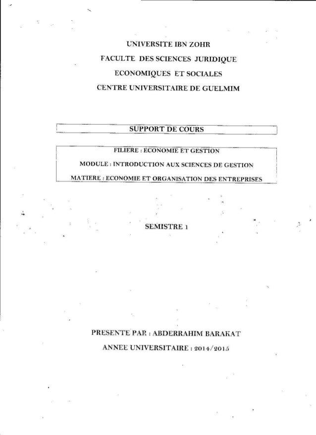 Economie et organisation des entreprise abderrahim barakat