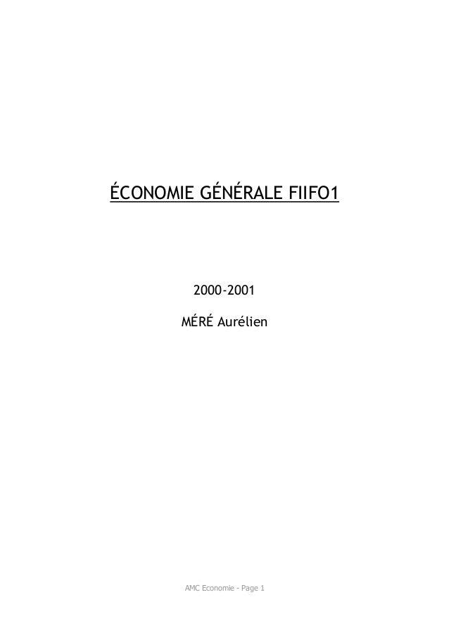 ÉCONOMIE GÉNÉRALE FIIFO1         2000-2001       MÉRÉ Aurélien       AMC Economie - Page 1