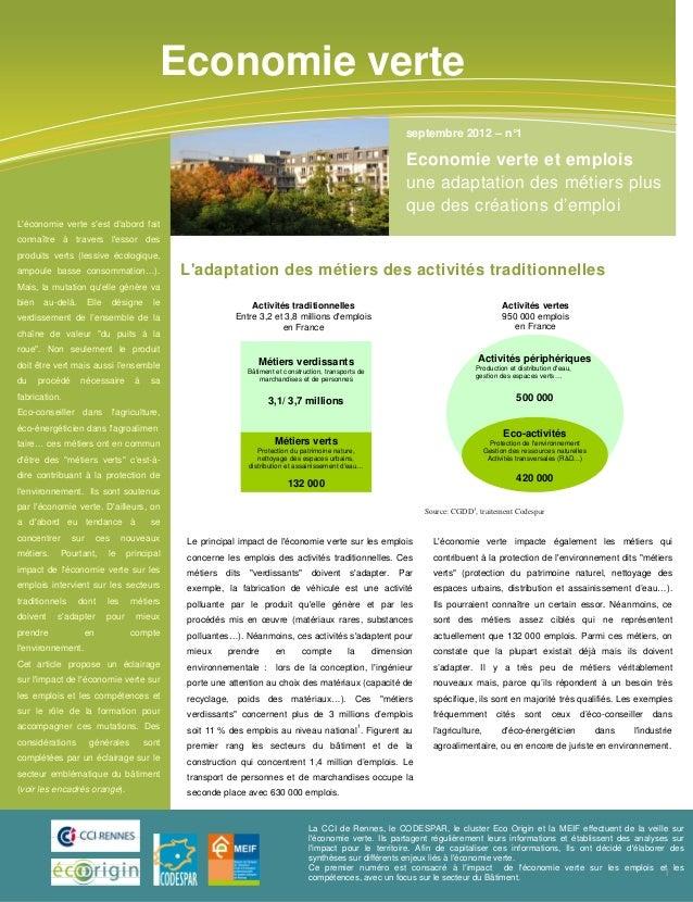 Economie verte emplois