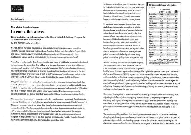 The Economist Global Housing Bubble 2005