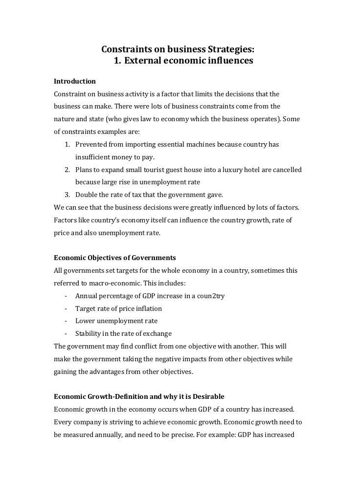 Constraints on business Strategies:                  1. External economic influencesIntroductionConstraint on business act...