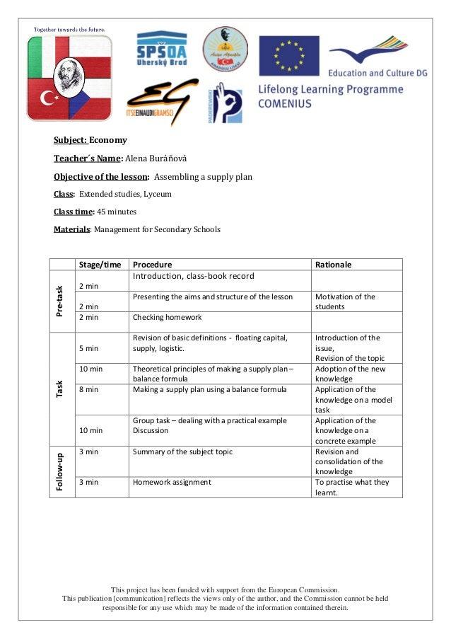 Economy - marketing plan lesson plan Czech Republic