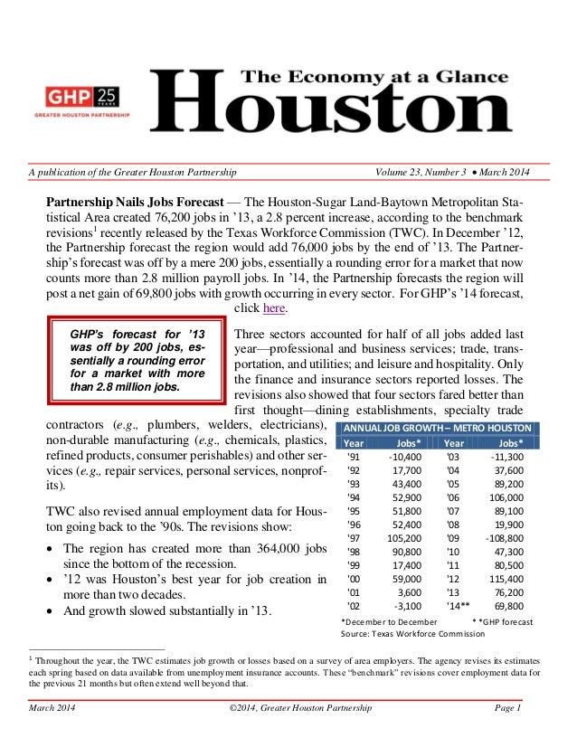 March 2014 ©2014, Greater Houston Partnership Page 1 A publication of the Greater Houston Partnership Volume 23, Number 3 ...