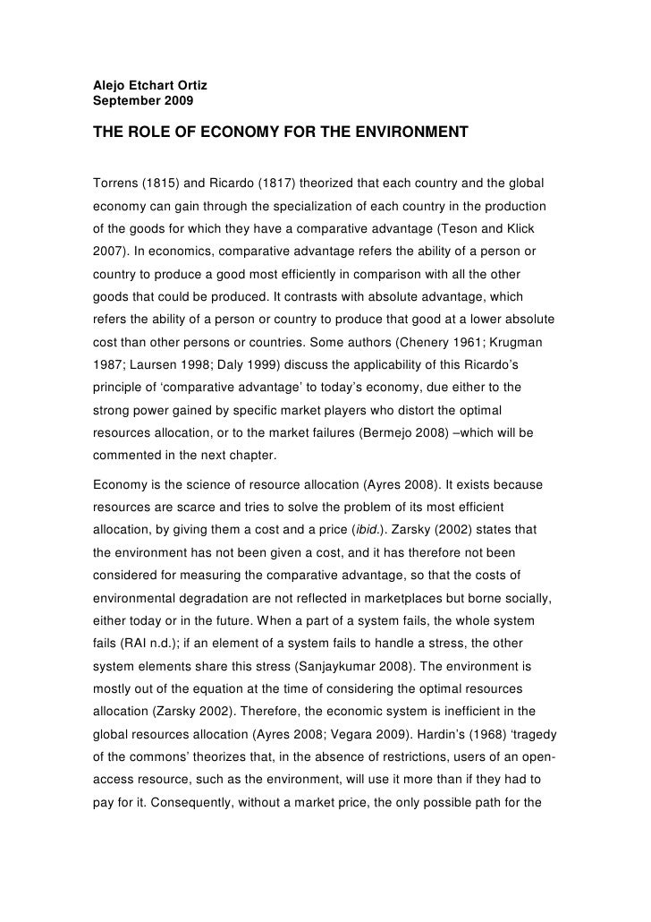 Alejo Etchart Ortiz September 2009  THE ROLE OF ECONOMY FOR THE ENVIRONMENT   Torrens (1815) and Ricardo (1817) theorized ...