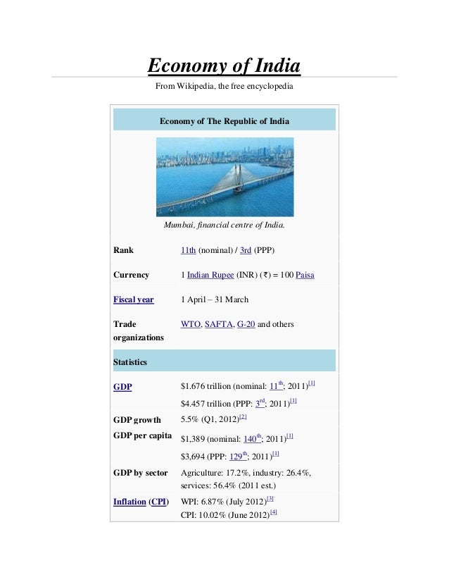 Economy of India              From Wikipedia, the free encyclopedia               Economy of The Republic of India        ...