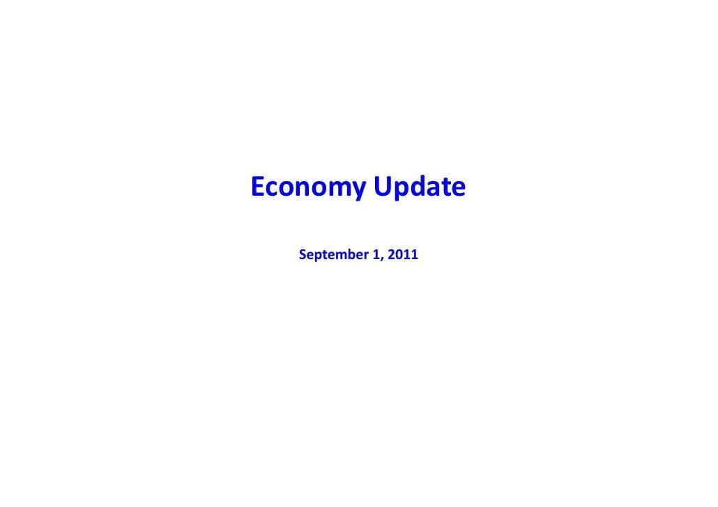 EconomyUpdateEconomy Update   September1,2011   September 1 2011