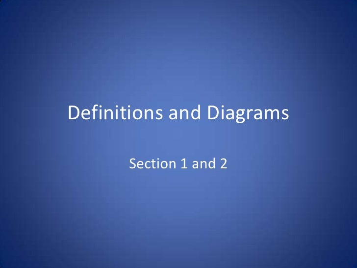 Definitions and Diagrams<br />Section 1 and 2<br />