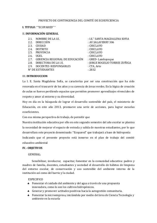 """PROYECTO DE CONTINGENCIA DEL COMITÉ DE ECOEFICIENCIA I. TITULO: """"""""ECOPARED"""" """" II. INFORMACIÓN GENERAL 2.1. NOMBRE DE LA I...."""