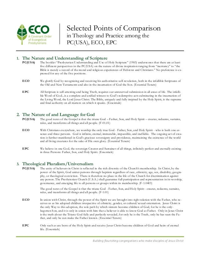 Eco pcusa comparison in theology and practice