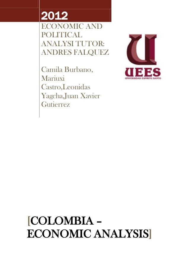 2012  ECONOMIC AND  POLITICAL  ANALYSI TUTOR:  ANDRES FALQUEZ  Camila Burbano,  Mariuxi  Castro,Leonidas  Yagcha,Juan Xavi...