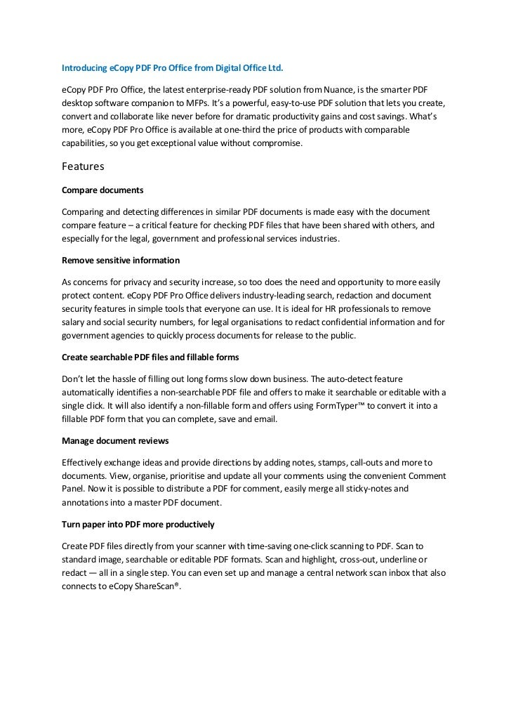 Introducing eCopy PDF Pro Office from Digital Office Ltd.eCopy PDF Pro Office, the latest enterprise-ready PDF solution fr...