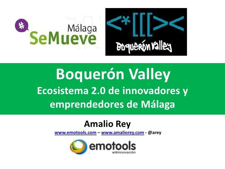 Boquerón ValleyEcosistema 2.0 de innovadores y  emprendedores de Málaga               Amalio Rey   www.emotools.com – www....