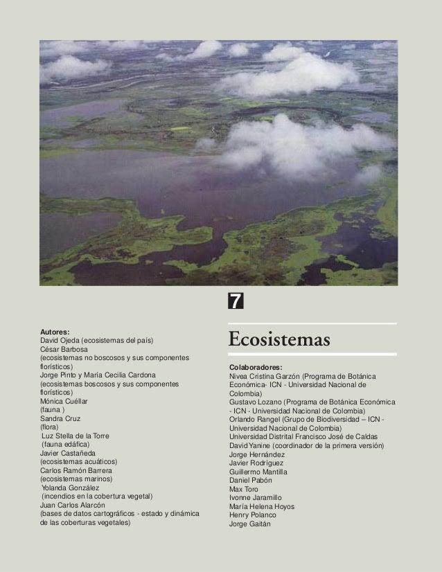 7 Autores: David Ojeda (ecosistemas del país) César Barbosa (ecosistemas no boscosos y sus componentes florísticos) Jorge ...
