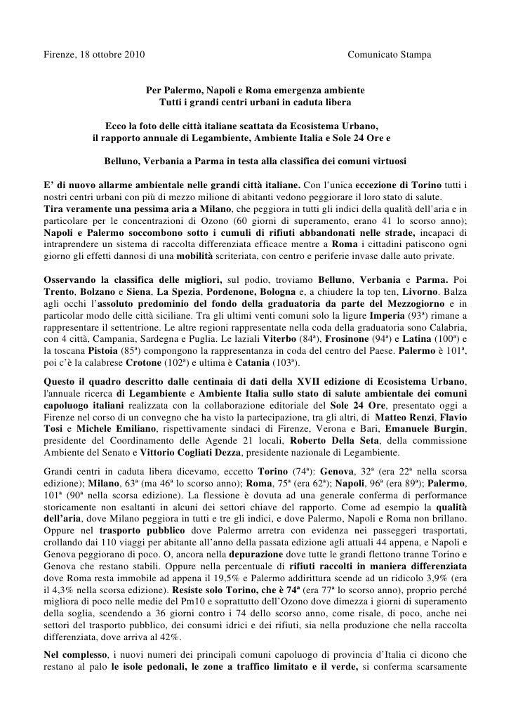 Firenze, 18 ottobre 2010                                                   Comunicato Stampa                              ...