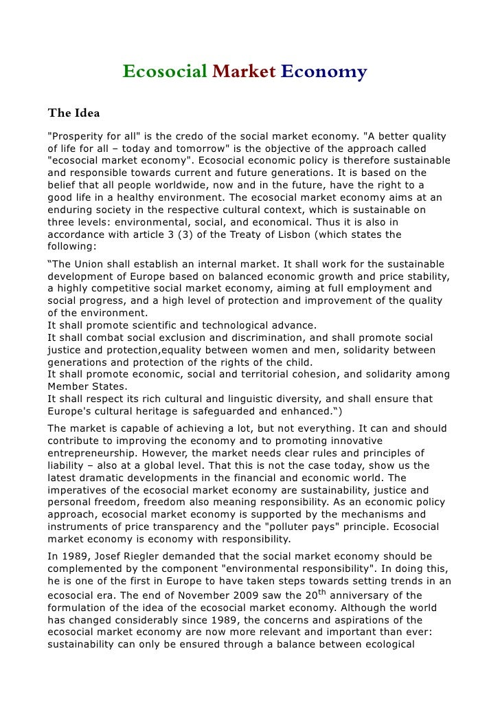 "Ecosocial Market Economy The Idea ""Prosperity for all"" is the credo of the social market economy. ""A better quality of lif..."