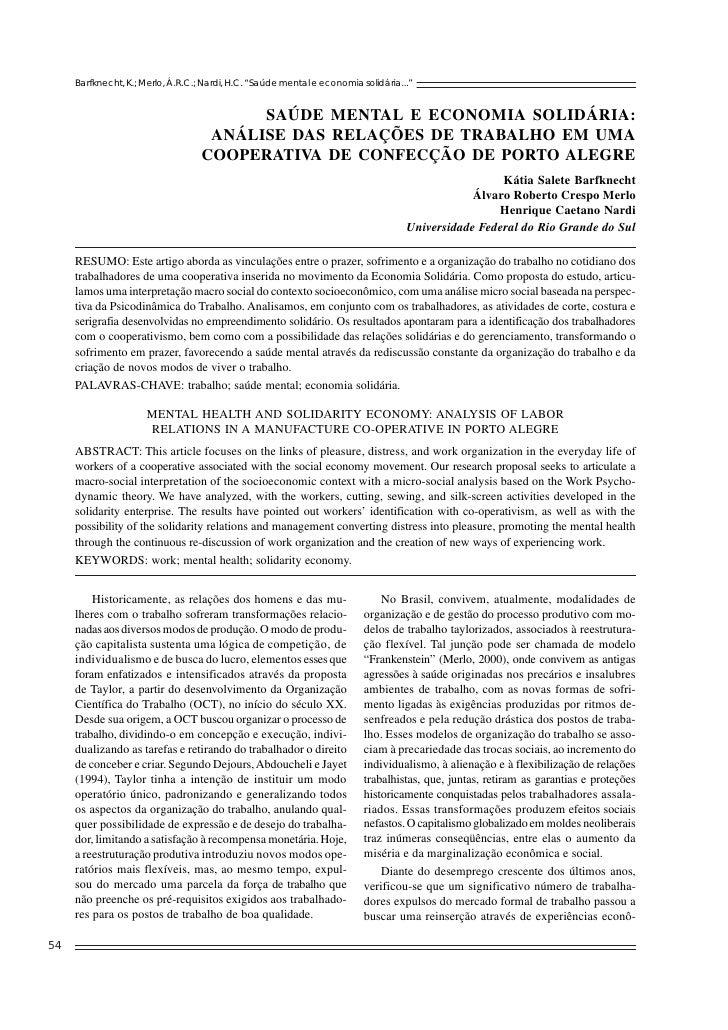 SAÚDE MENTAL E ECONOMIA SOLIDÁRIA: ANÁLISE DAS RELAÇÕES DE TRABALHO EM UMA COOPERATIVA DE CONFECÇÃO DE PORTO ALEGRE