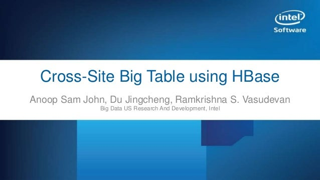 HBase Cross-site BigTable Security Features in Apache HBase – An Operator's Guide Cross-Site Big Table using HBase Anoop S...