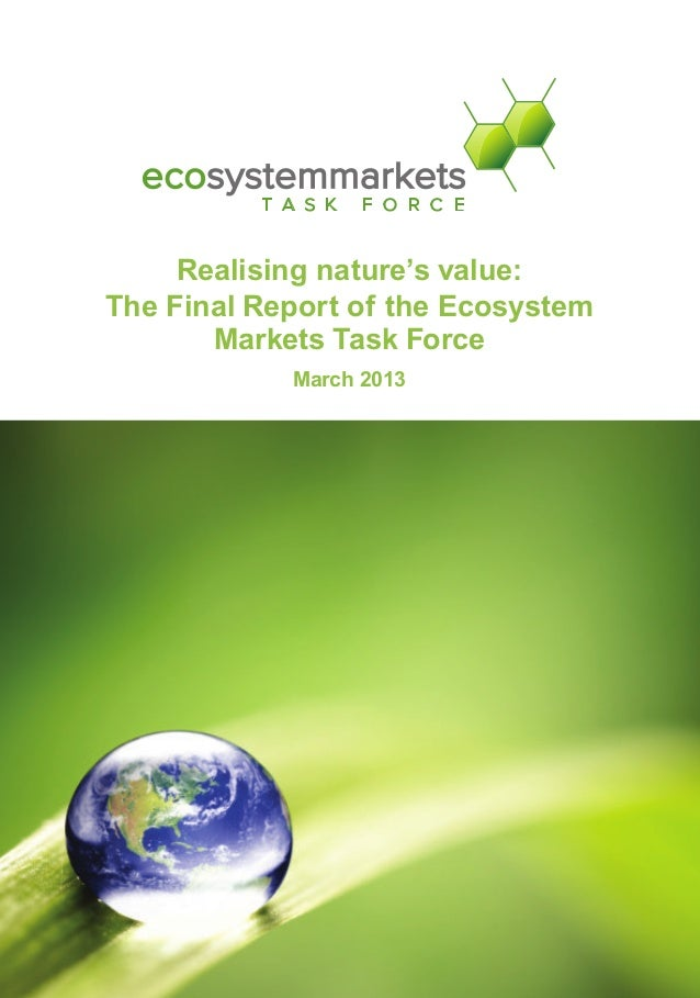 Realising nature's value: The Final Report of the Ecosystem Markets Task Force