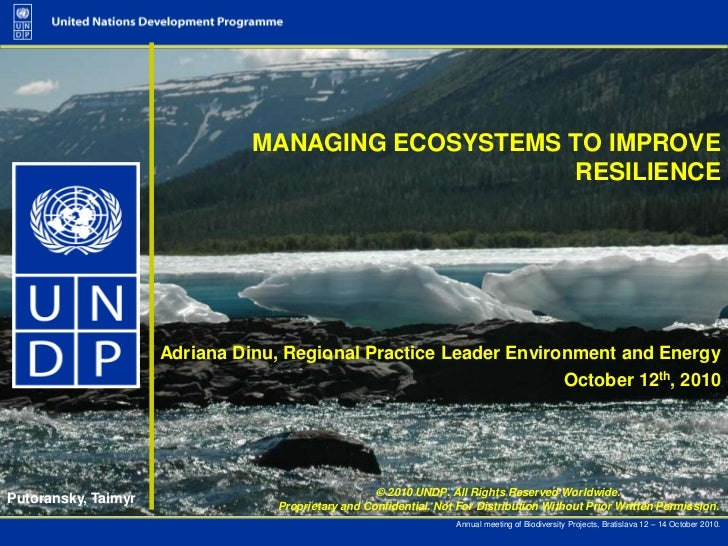 Managing Ecosystems to improve resilience (UNDP presentation)