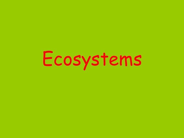 Ecosystems Lesson I