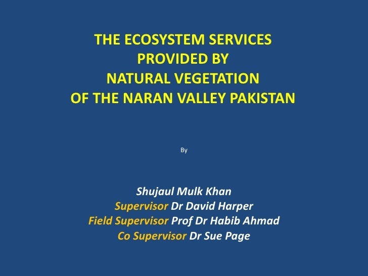 THE ECOSYSTEM SERVICES         PROVIDED BY     NATURAL VEGETATIONOF THE NARAN VALLEY PAKISTAN                   By        ...