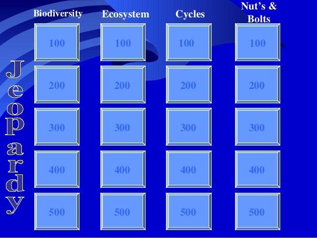 100 100 100 100 200 300 400 500 Biodiversity Jeopardy Ecosystem Cycles Nut's & Bolts 200 300 400 500 200 300 400 500 200 3...
