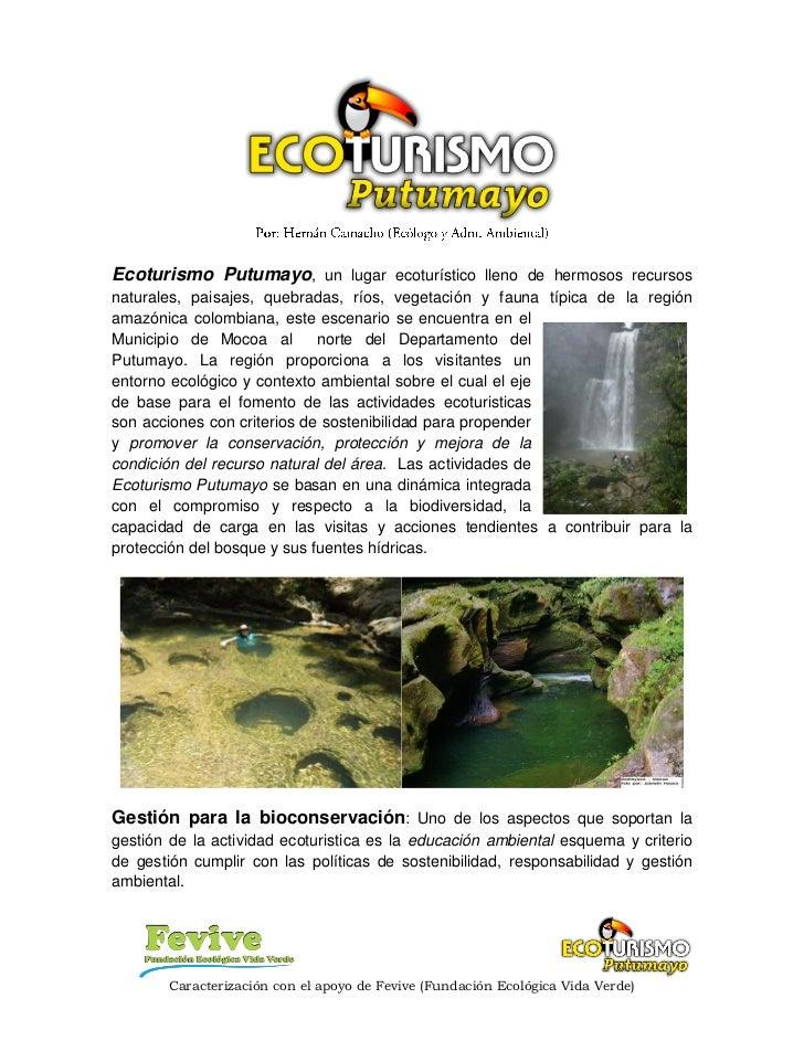 Ecoturismo putumayo caracterizacion y criterios de gestión blog