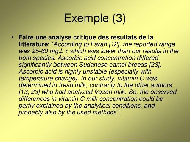 Exemple de critique d'un article scientifique