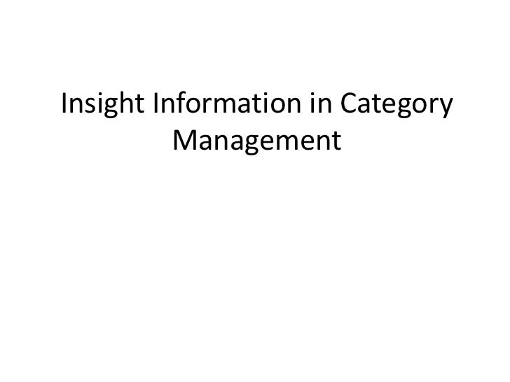 Insight Information in Category Management<br />