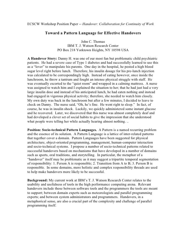ECSCW Workshop Position Paper -- Handover: Collaboration for Continuity of Work            Toward a Pattern Language for E...