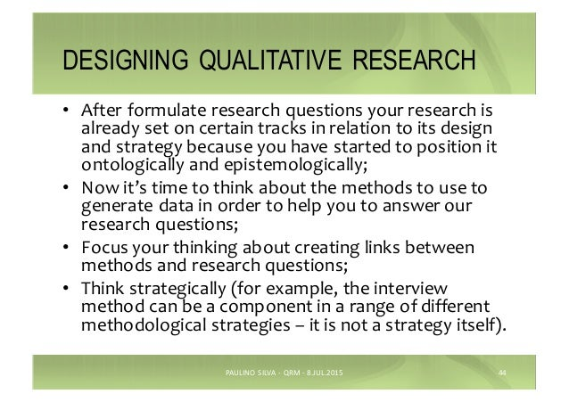 qualitative research design essay Quantitative and qualitative research sheri doubleday may 16, 2011 research procedures depends on the analyzing data and questions on the topic being researched.