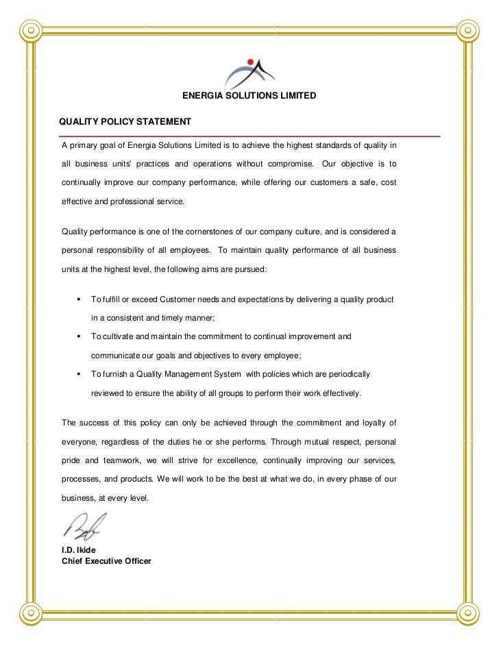 ESL quality policy statement
