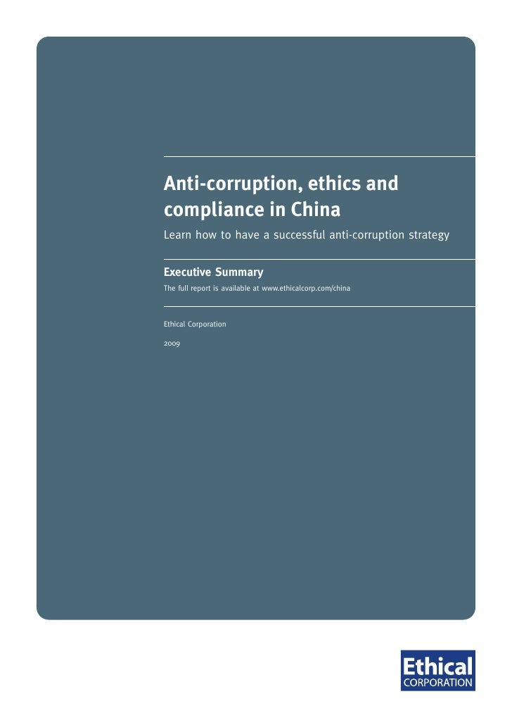 Ethical Corp Report Summary   Anti Corruption Ethics Compliance In China