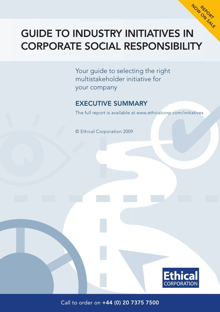 Ethical Corp Report Summary   Csr Initiatives