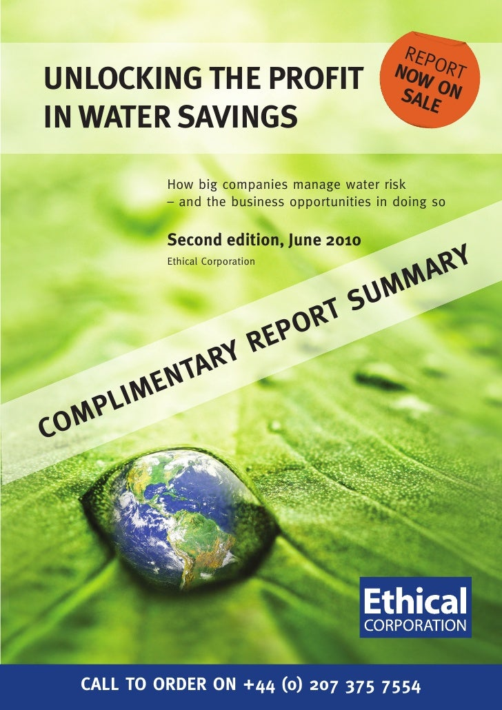 Ehical Corporation report summary  - Water savings 2nd Ed 2010