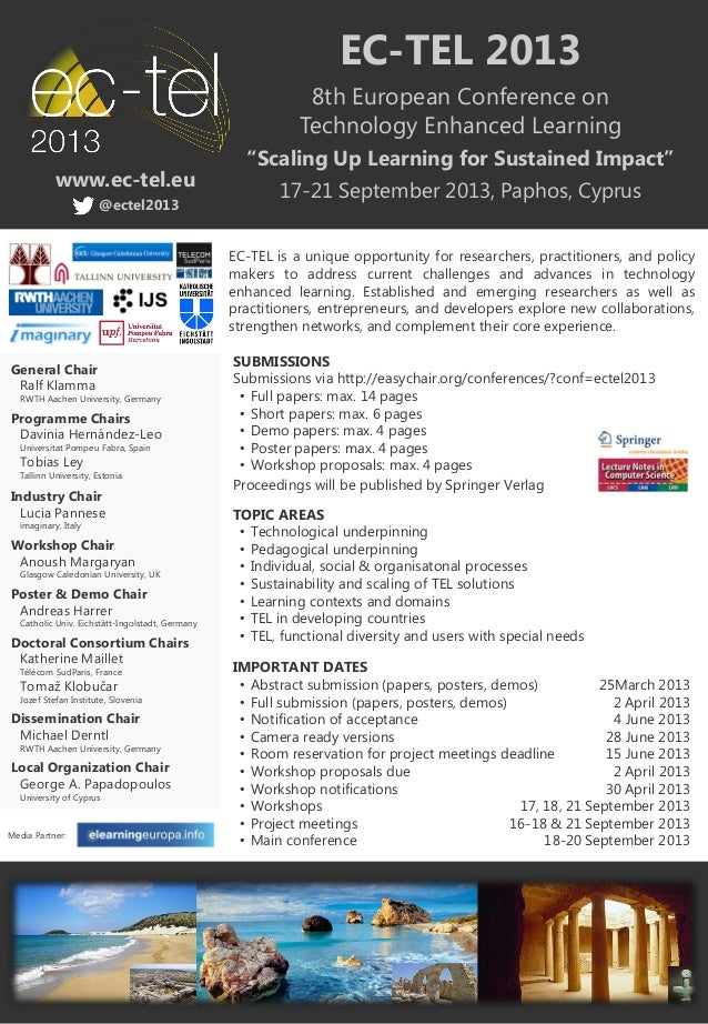 EC-TEL 2013                                                             8th European Conference on                        ...