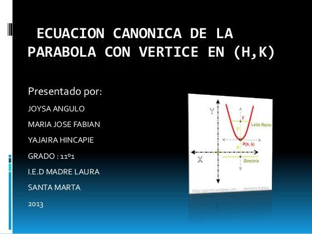 ECUACION CANONICA DE LAPARABOLA CON VERTICE EN (H,K)Presentado por:JOYSA ANGULOMARIA JOSE FABIANYAJAIRA HINCAPIEGRADO : 11...